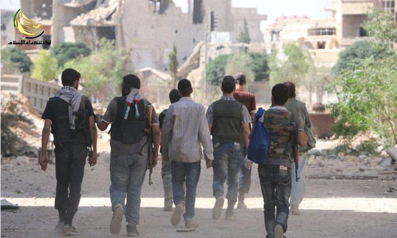 توجه مقاتلي الجيش الحر للجبهة (لواء شهداء الاسلام)