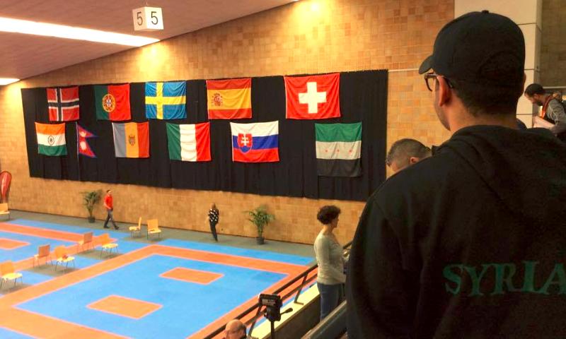 الصالة الرياضية التي تستضيف بطولة الكاراتية في مدينة لوكسمبورغ بالسويد - السبت 23 نيسان (الهيئة العامة للشباب والرياضة)