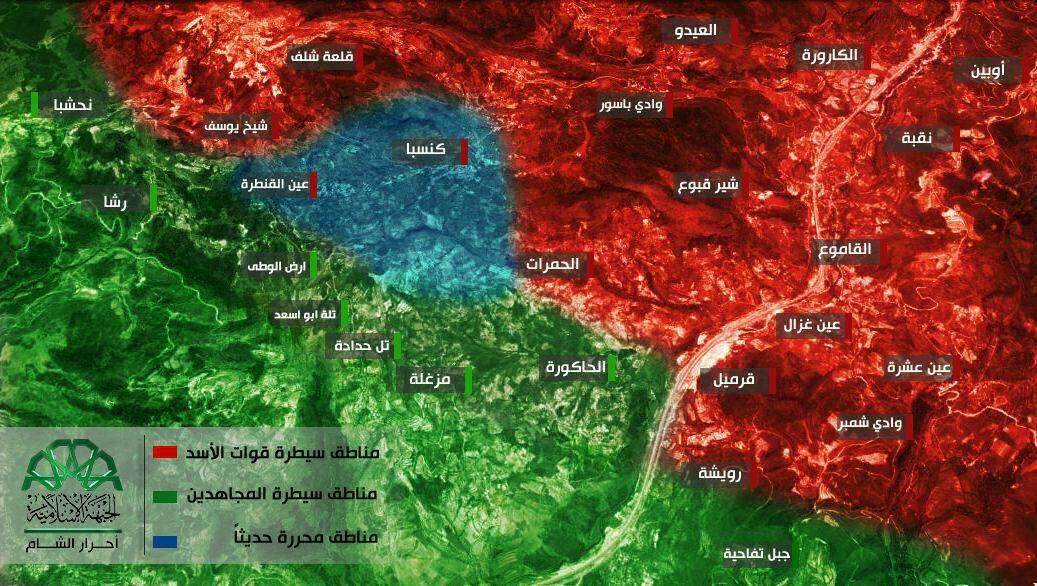 خريطة توضح المناطق التي استعادتها المعارضة بريف اللاذقية - 1 تموز 2016 (أحرار الشام)