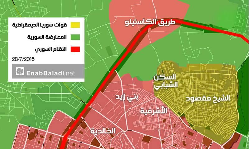 خارطة تظهر مواقع السيطرة في المحور الشمالي لمدينة حلب- الخميس 28 تموز (عنب بلدي)