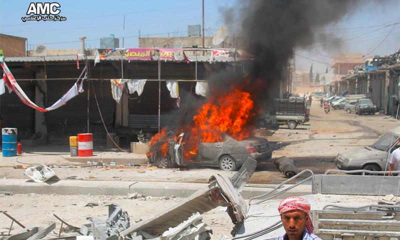 آثار القصف على مدينة الأتارب غرب حلب - الثلاثاء 20 تموز (مركز حلب الإعلامي)