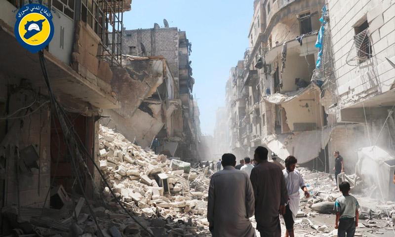 آثار القصف على حي المشهد بحلب - الثلاثاء 26 تموز (الدفاع المدني في حلب )