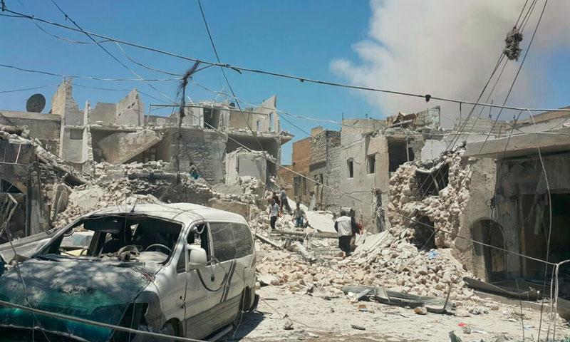 آثار القصف على حي باب المقام في حلب - الاثنين 11 تموز (ناشطون)