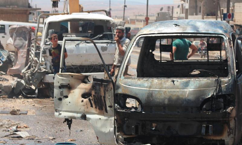 آثار القصف على مدينة الأتارب في ريف حلب الغربي - الثلاثاء 19 تموز (ناشطون)