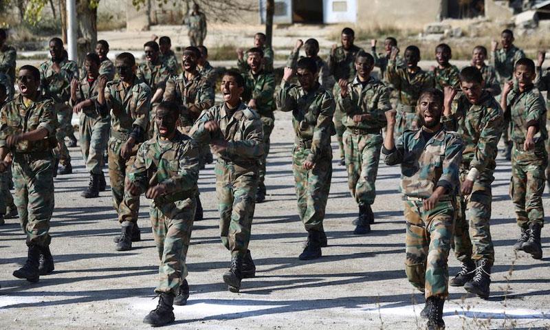 جنود في الجيش السوري خلال دورة تدريبية (أرشيفية - إنترنت)