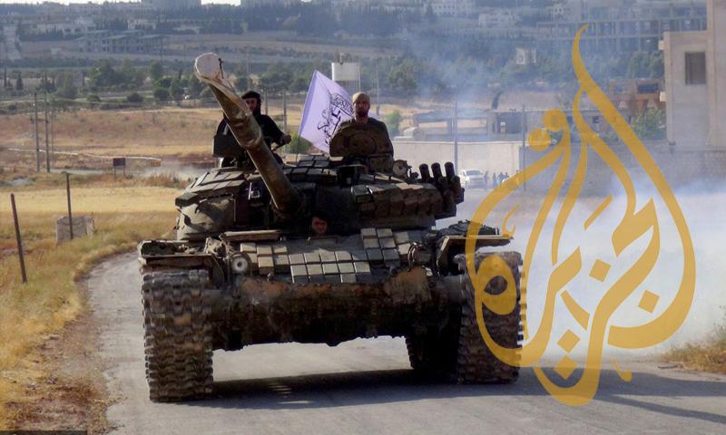 """دبابة لـ """"فيلق الشام"""" في ريف حلب - حزيران 2016 (الأناضول)"""