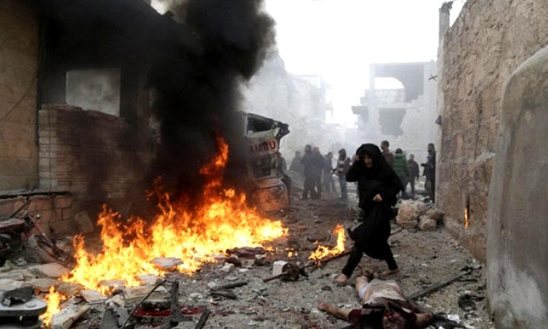 تعبيرية: قصف على دير الزور - 2017 (ناشطون)