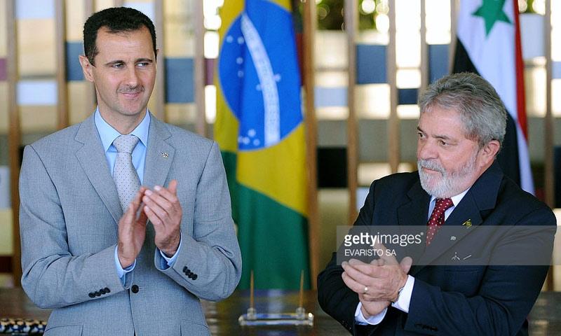 الرئيس البرازيلي السابق، لويس إيناسيو دا سيلفا، مع الرئيس السوري، بشار الأسد (أرشيف)
