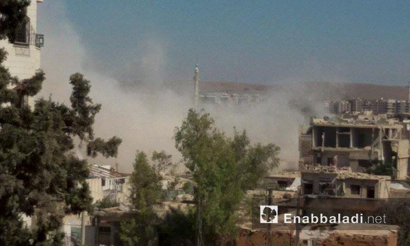 آثار القصف على داريا عصر اليوم، الجمعة 8 تموز (عنب بلدي)