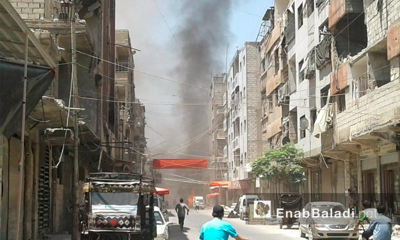 آثار القصف على مدينة دوما في الغوطة الشرقية - الاثنين 25 تموز (أرشيف عنب بلدي)