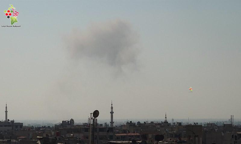 آثار القصف على مدينة دوما في الغوطة الشرقية - الخميس 21 تموز (تنسيقية دوما)