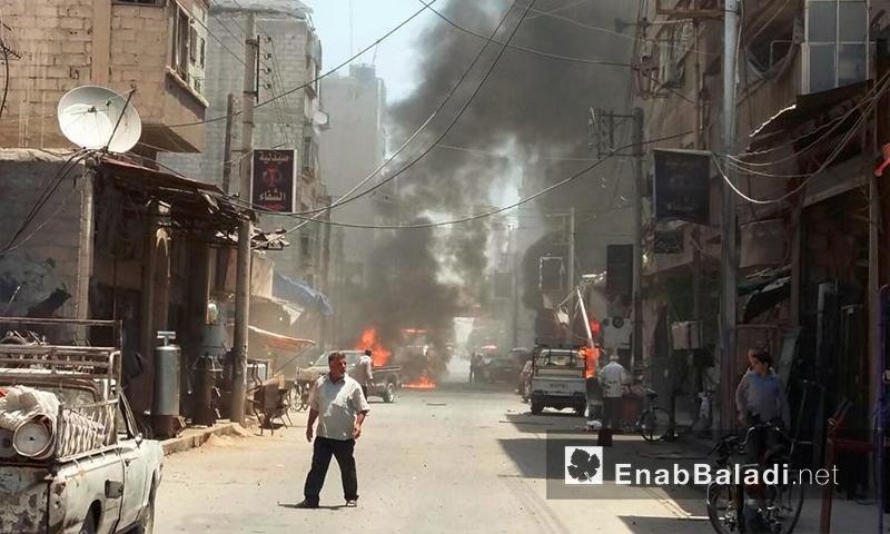 آثار القصف بالصواريخ العنقودية على مدينة دوما في الغوطة الشرقية - الاثنين 25 تموز (عنب بلدي)