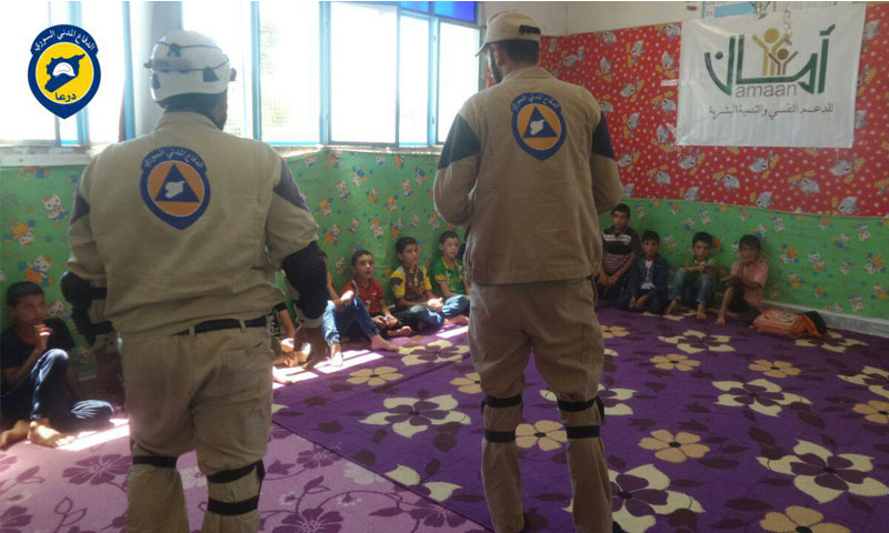 حملة توعوية لتفادي القصف غرب درعا بلدة سحم الخميس 14 تموز - 2016 (الدفاع المدني في درعا )