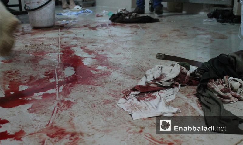 آثار الدماء في المشفى الميداني لداريا بعد إسعاف الجرحى نيسان 2016 (عنب بلدي)