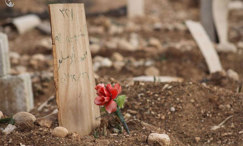وردة أمام قبر في داريا - 28 تموز (المجلس المحلي لمدينة داريا)