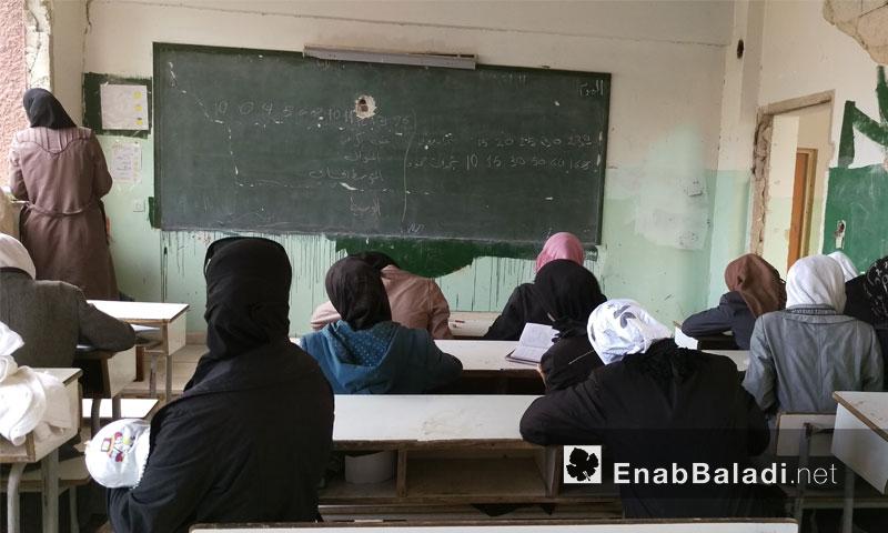"""دورة تعليمية لصف التاسع في مدرسة """"اقرأ وارق"""" 28 أيار 2016 (عنب بلدي)"""