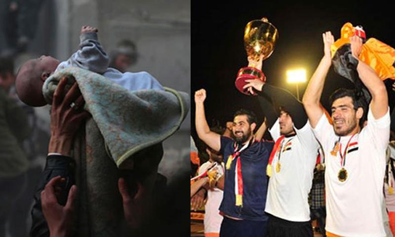 """فرحة جماهير نادي الوحدة بالتتويج بلقب """"كأس الجمهورية"""" (يمين)، ومواطنون ينقذون رضيعًا من القصف في دوما بريف دمشق (وكالات)"""