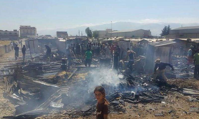 """الحرائق في مخيم """"تعنايل"""" في لبنان- السبت 23 تموز (LBCI)"""