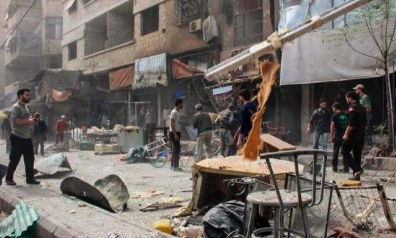 آثار القصف على الغندورة في منبج (فيس بوك)