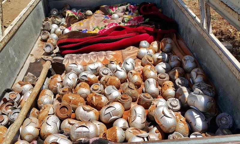 لذخائر العنقودية سقطت على ضواحي قرية ترمانين في ريف إدلب 11 تموز (هيومن رايتس ووتش)