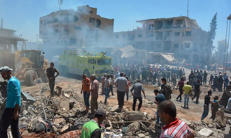 آثار الدمار على خلفية تفجيرات القامشلي - الأربعاء 27 تموز (فيس بوك)