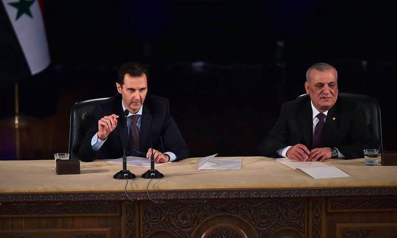 نقيب المحامين، نزار السكيف، إلى جانب بشار الأسد، شباط 2016 (فيس بوك)