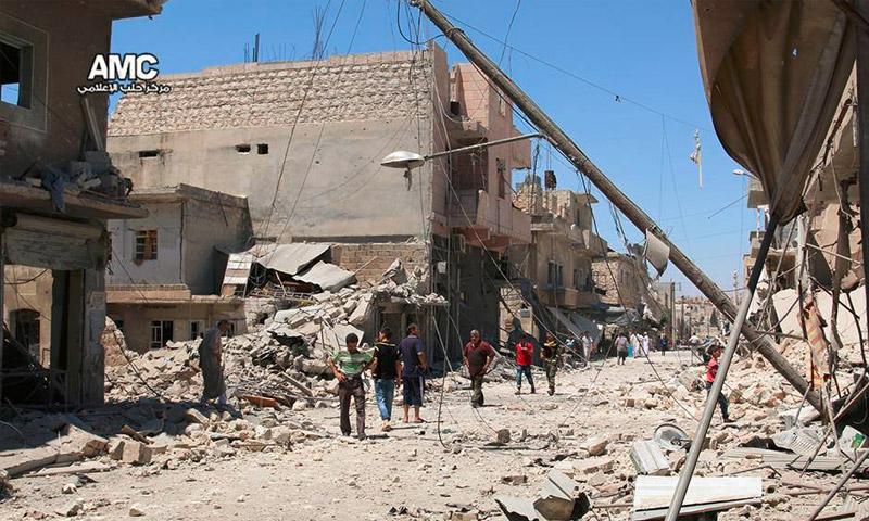 آثار القصف على حي الصاخور في مدينة حلب - الأربعاء 27 تموز (مركز حلب الإعلامي)