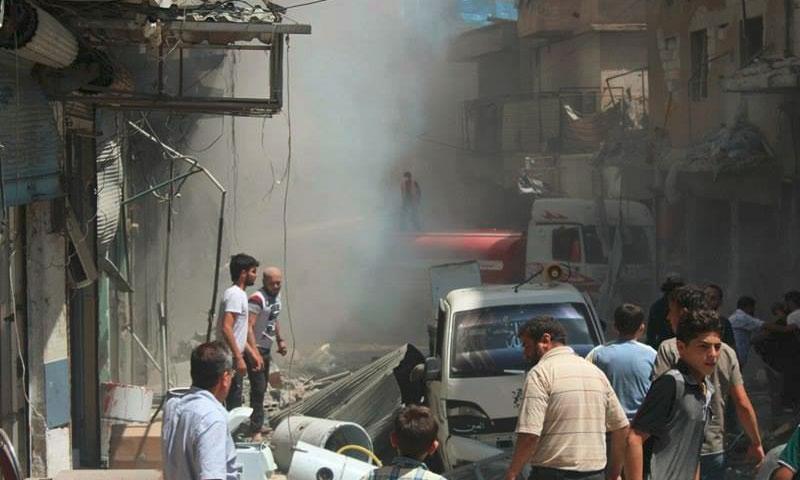 آثار القصف على أريحا اليوم الأربعاء 13 تموز (المعرة اليوم)