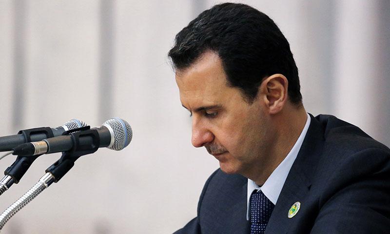 رئيس النظام السوري، بشار الأسد في اجتماع نقابة المحامين في دمشق (سانا)