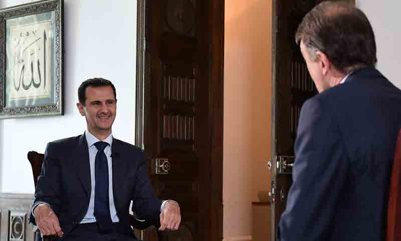 """بشار الأسد خلال مقابلة مع محطة """"NBC"""" الأمريكية - 13 تموز 2016 (فيس بوك)"""