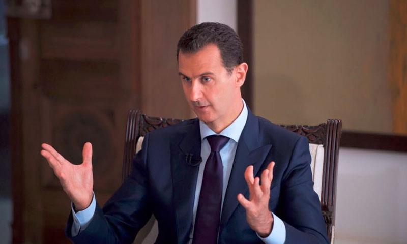 رئيس النظام السوري، بشار الاسد، في مقابلة القناة الأسترالية (سانا)