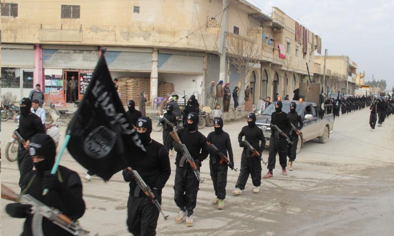 عناصر تنظيم الدولة في تل أبيض قبل خسارتها (انترنت)