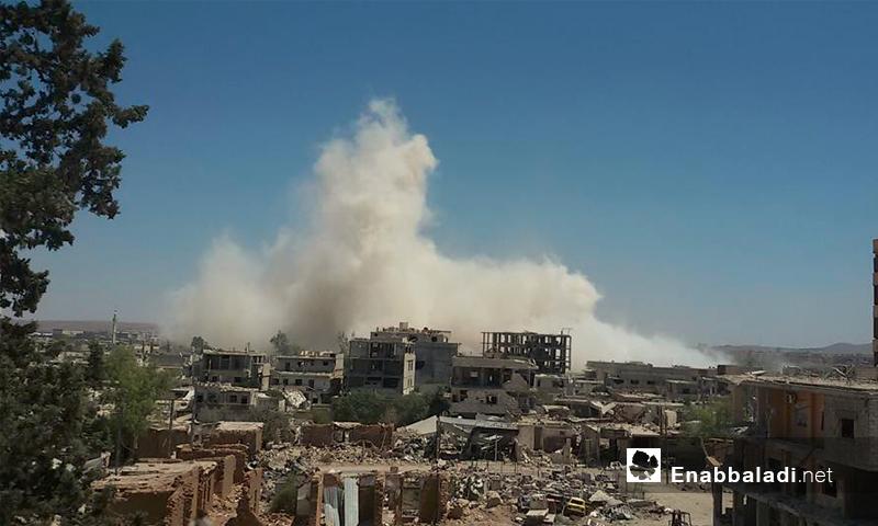اثار القصف بالبراميل المتفجرة على داريا - 10 تموز (عنب بلدي)