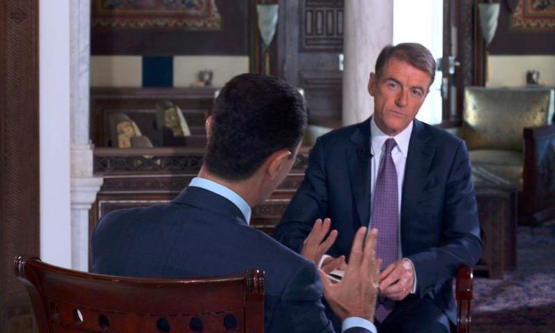 """بشار الأسد خلال مقابلة مع محطة """"NBC"""" الأمريكية - 13 تموز 2016(سانا)"""