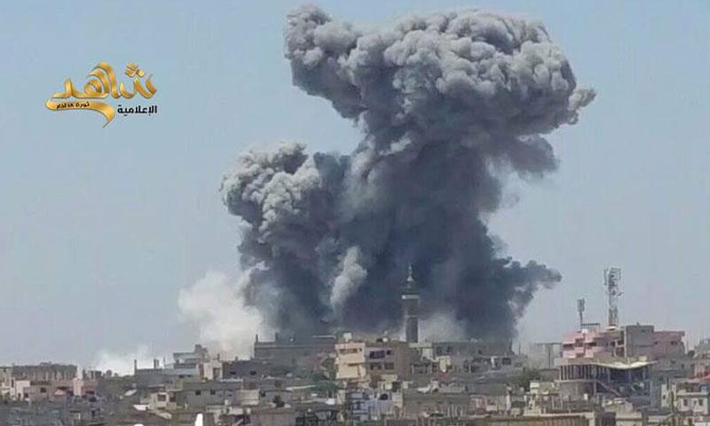 غارة جوية على مدينة جاسم في ريف درعا- الأحد 31 تموز (شاهد)