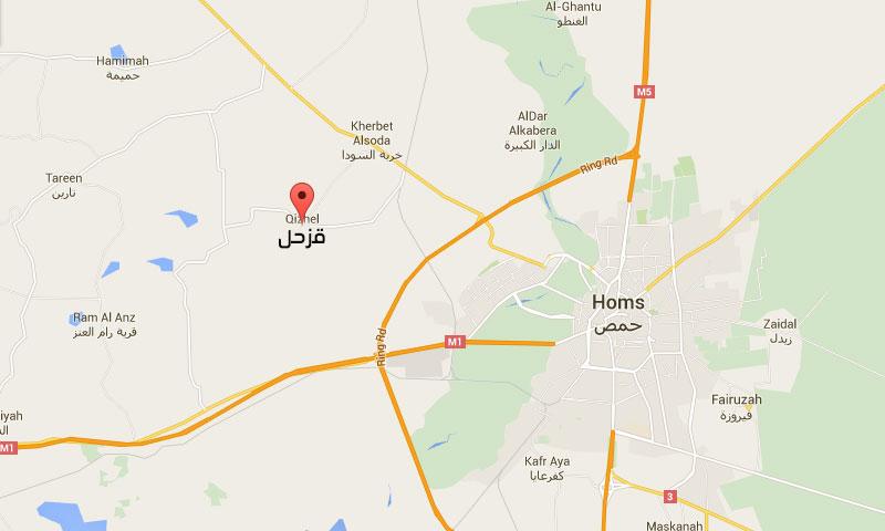 خريطة توضح موقع قرية قزحل غرب حمص