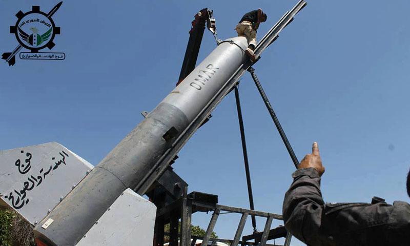 """صاروخ """"عمر"""" أطلقته """"فرقة صلاح الدين"""" على مدينة البعث في القنيطرة- الأربعاء 20 تموز (الجيش الحر)"""