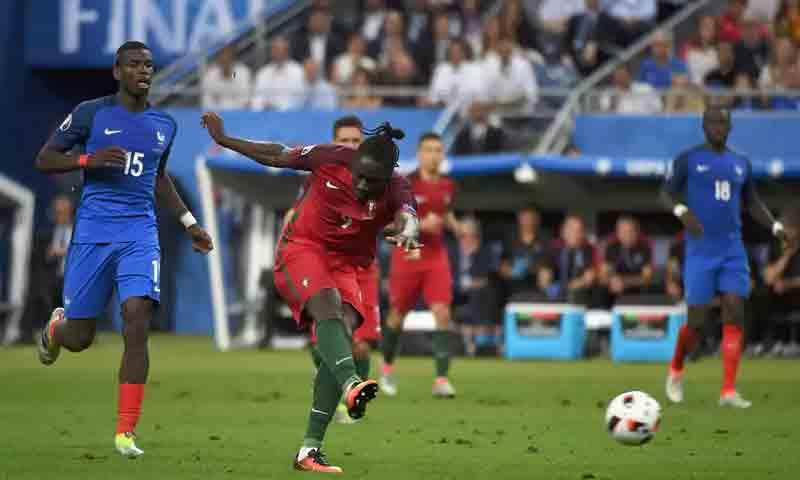 تسديدة البرتغالي ايدير التي أسفرت عن هدف المباراة الوحيد (Getty)