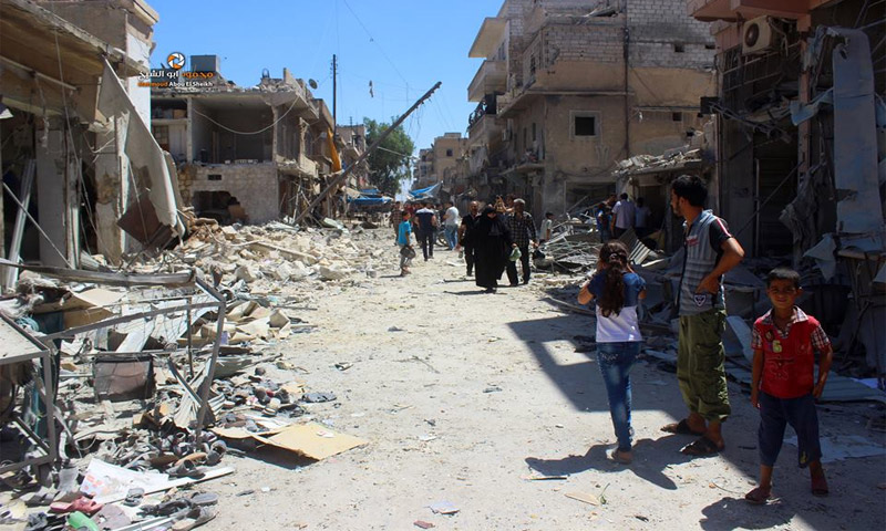 حي الصاخور بعد القصف الذي تعرض له اليوم -الأربعاء 27 تموز- (الناشط محمود أبو الشيخ)
