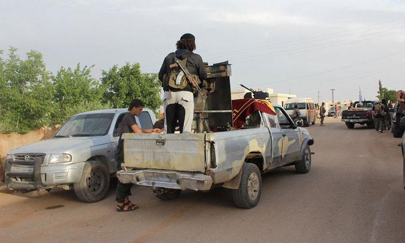 قوات سوريا الديمقراطية في مدينة منبج (وكالات)