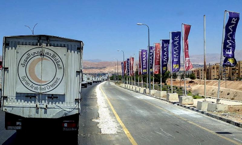 القوافل الإغاثية المتوجهة إلى بردى اليوم - الأحد 3 تموز (الهلال الأحمر السوري)
