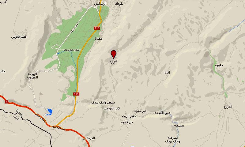 موقع قرية هريرة في ريف دمشق الشمالي الغربي (عنب بلدي)