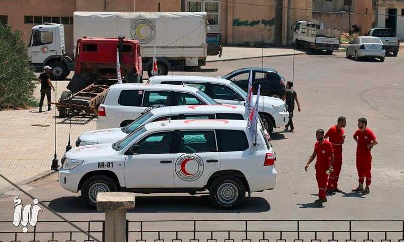 قوافل المساعدات في مدينة نوى بدرعا - السبت 30 تموز (وكالة نبأ)