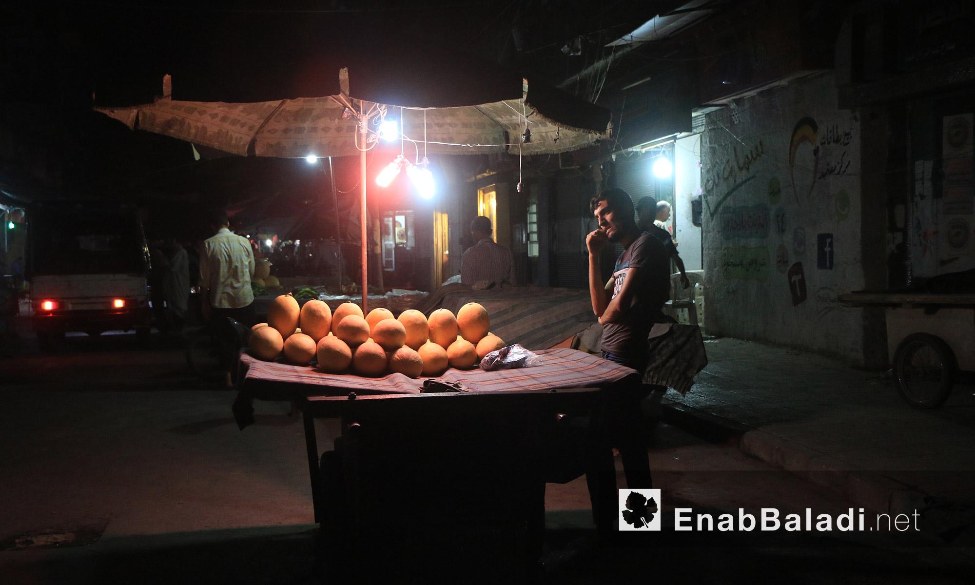 عربة لأحد أهالي حي بستان القصر في مدينة حلب - السبت 20 آب (عنب بلدي)