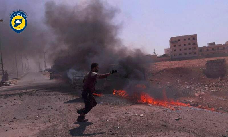 آثار القصف على أورم الكبرى غرب حلب - الأربعاء 10 آب (الدفاع المدني في حلب)