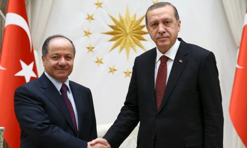 الرئيس التركي رجب طيب أردوغان، ورئيس إقليم كردستان العراق، مسعود برزاني (إنترنت)