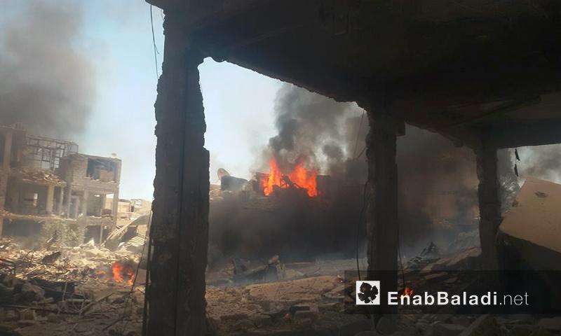 آثار القصف على مدينة داريا اليوم- الثلاثاء 16 آب (عنب بلدي)