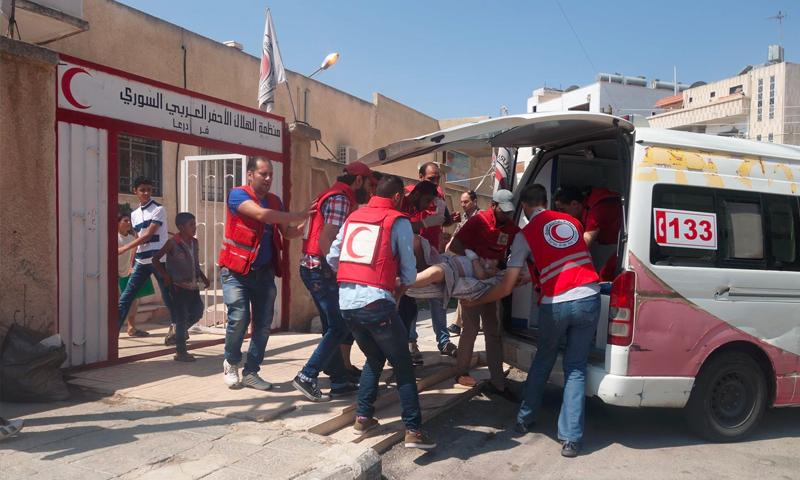 إسعاف الجرحى في درعا المحطة - الثلاثاء 9 آب (الهلال الأحمر في درعا)