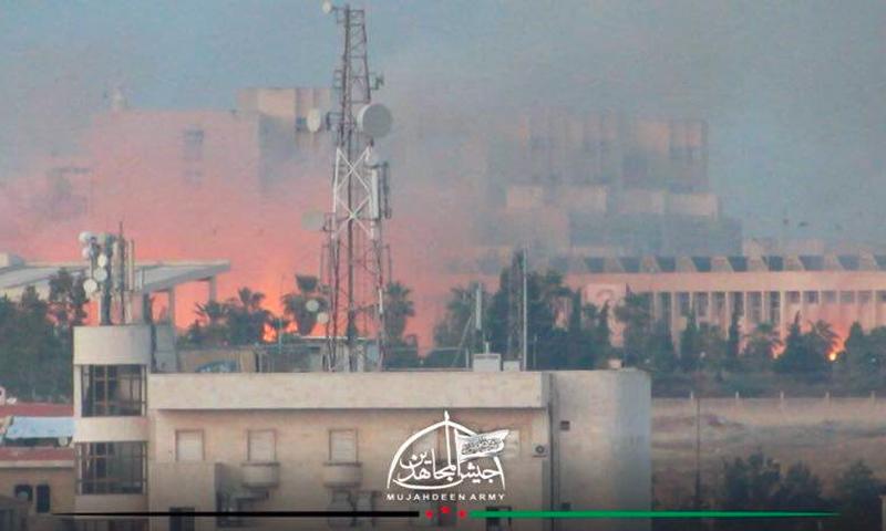 حرائق إثر استهداف الأكاديمية العسكرية الثلاثاء 2 آب (جيش المجاهدين)
