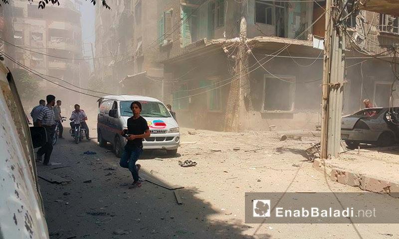 آثار القصف على مدينة دوما بالغوطة الشرقية - الاثنين 1 آب (عنب بلدي)